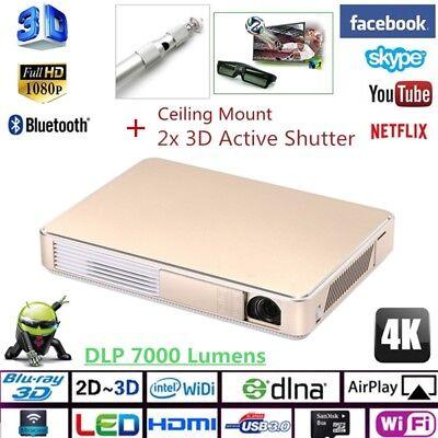 Portable 1080p 7000 Lumens 3D DLP Theater Projector Wifi 4K Video Cinema HDMI US