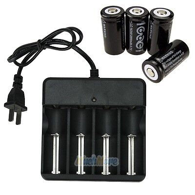 4Pcs Cr123a 123A Cr123 16340 2000Mah Rechargeable Battery Bty Black   Ul Charger