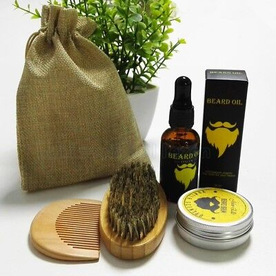 Beard Balm Natural Oil Conditioner Beard Care Moustache Wax Men Grooming Kit  Ws