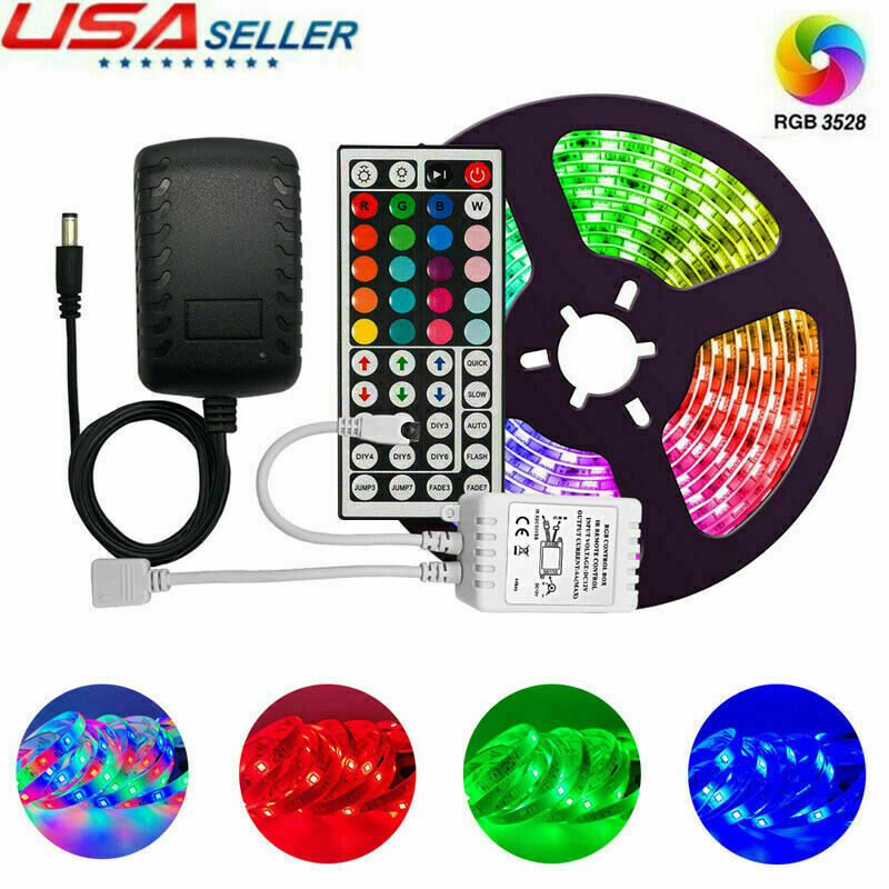 Led Strip Lights 2835 Multicolor Flexible RGB with 44 Key Remote Power Adapter Home & Garden