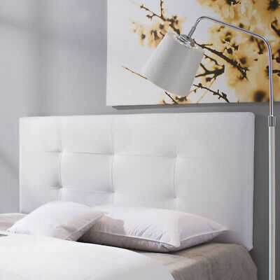 Cabecero cama matrimonio tapizado CARLA 160x115 en color Blanco.Polipiel.