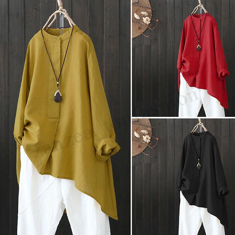как выглядит Женская блузка большого размера ZANZEA Womens Waterfall High Low Shirt Tops Casual Asymmetrical Blouse Plus Size фото