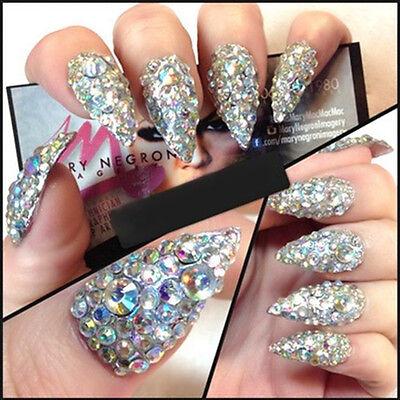 300Pcs Nail Art Rhinestones Glitter Diamond Gems 3D Tips DIY Decoration Wheel US