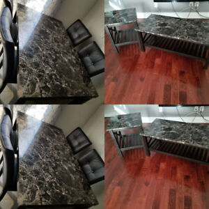 Immiation marble coffee table and side tables