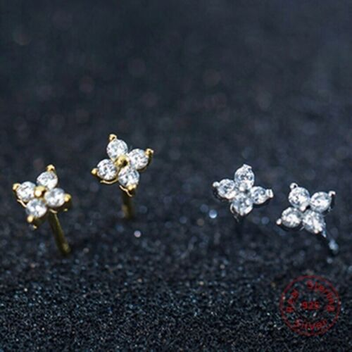 925 Sterling Silver Tiny Cubic Cz Flower Four Petal Stud Earrings 4mm Girl E31 Fine Earrings