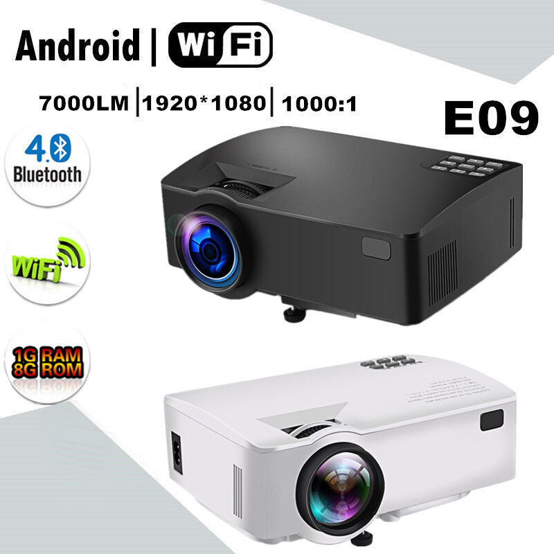 E09 LED Projector 3D Home Theater 7000lm FHD 1080P 4K Android BT WIFI 2 Color US