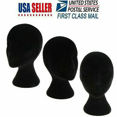 Female Styrofoam Foam Mannequin Head Model Wig Glasses Hat Display Stand Black