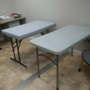 3 office tables with folding legs