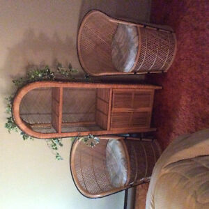 Wicker cabinet and Chairs