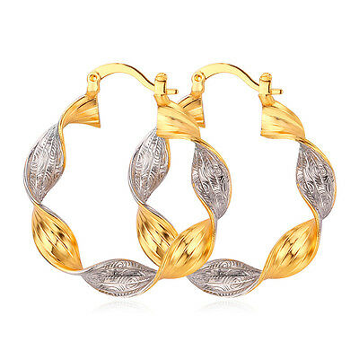 (Vintage Hoop Earrings Women 18K Two Tone Gold Plated Platinum Twisted Jewelry )
