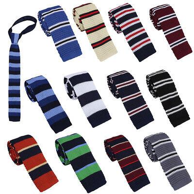 Men Knitted Knit Tie Slim Skinny Flat Tie Narrow Necktie Colourful Stripe Gifts