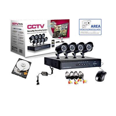 KIT VIDEOSORVEGLIANZA 4 TELECAMERA IR HD160 + DVR + ALIMENTATORE + CAVI