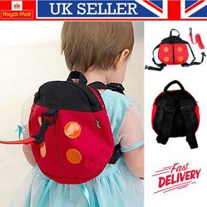 UK Walking Safety Backpack Harness Reins Toddler Bag For Kids Children Ladybug