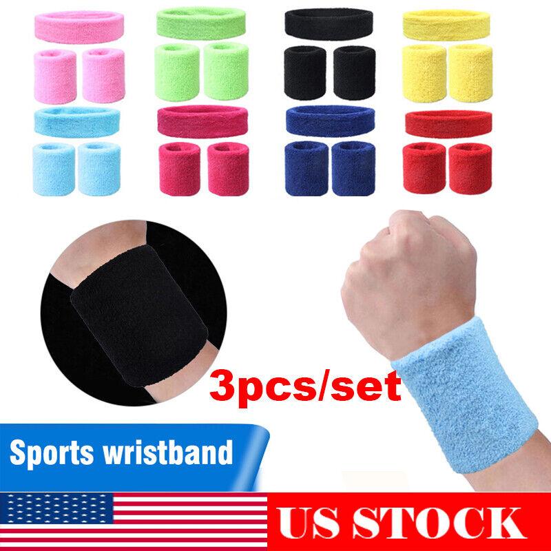 3pcs Sports Wristbands + Headbands Football Basketball Runni