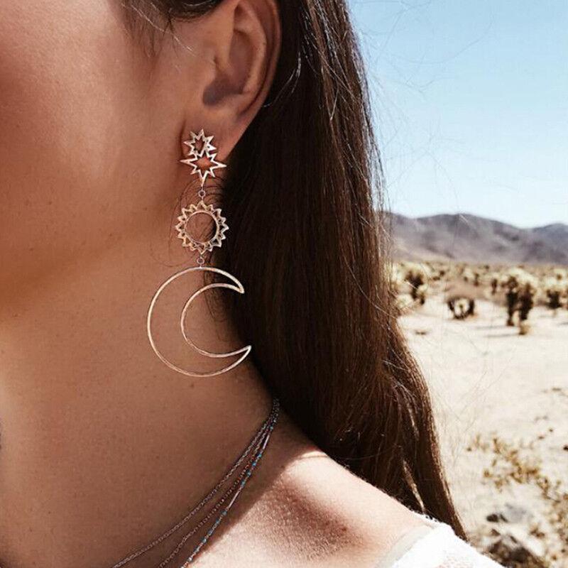 Women Boho Asymmetrical Star Sun Moon Drop Dangle Stud Earri