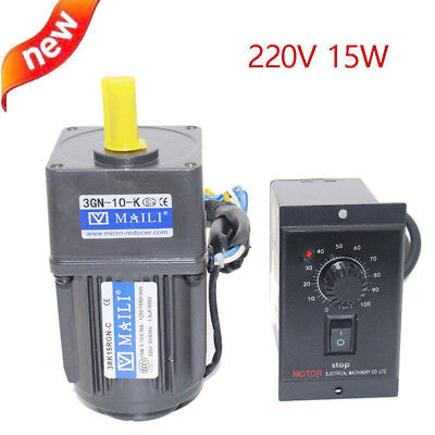 220v 15w Ac Gear Motor Electric Motor Variable Speed Controller 110 125rpm New