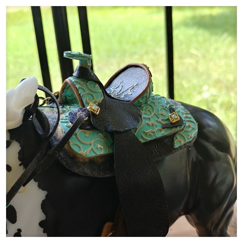 "Ooak/LSQ CM Trad. Breyer Western Saddle Set ""Azteca"""