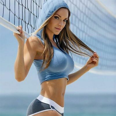 Women Sports Top With Hat Sexy Sportswear Crop Sleeveless Neck Hoodie Suit Gym