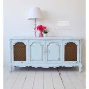 FREE DELIVERY Distressed Seafoam Blue French Provincial Buffet