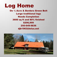 Large Loghome on 1/2 Acre Rural Prince George