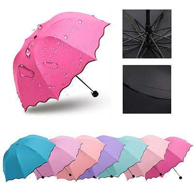 (Women Girls Princess Magic Flowers Dome Parasol Sun/Rain Folding Umbrella Gift)