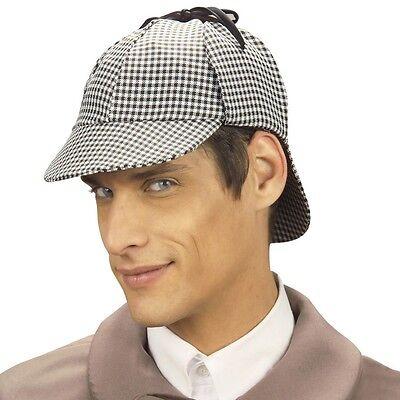 Detektiv Sherlock Holmes DEERSTALKER MÜTZE Kostüm Zubehör Hut Party - Sherlock Holmes Detektiv Kostüm