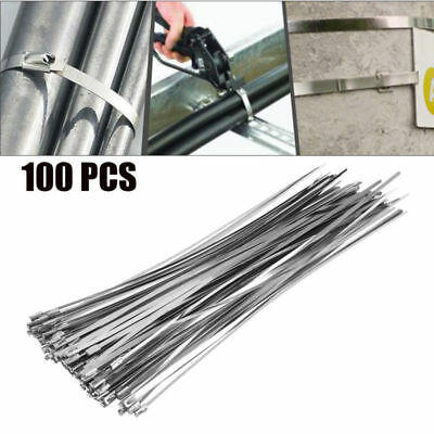 100pcs 12 Stainless Steel Header Exhaust Wrap Locking Cable Zip Ties Straps