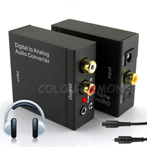 digital to analog audio converter optical cable coax coaxial toslink rca adapter ebay. Black Bedroom Furniture Sets. Home Design Ideas