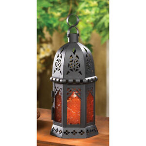 Amber Glass Moroccan Lantern Candle Holder BRAND NEW