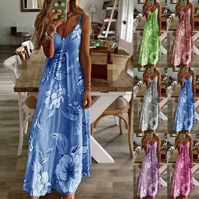 Womens Summer Strappy Holiday Floral Long Boho Kaftan Dress Beach Maxi Dress US