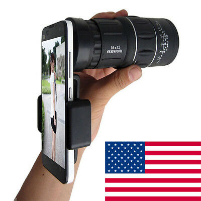 16x52 Zoom Dual Focus Monocular Telescope 66M/8000M + Phone Holder + Pouch Set