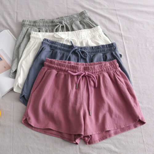 Women Summer Drawstring Elastic Waist Shorts Pants Sport Yoga Gym Casual Trouser