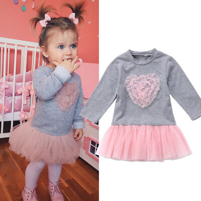 Kids Baby Girl Long Sleeve Lace Tutu Tulle Dress Sweatshirt Skirt Outfit Clothes ()