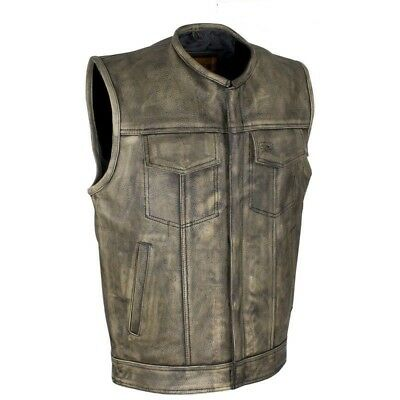 Mens Club Biker Concealed Carry Vest Distressed Brown Leather Motorcycle Biker