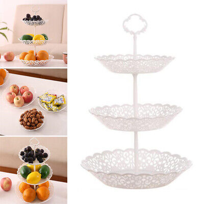3 Tier Plastic Cake Cupcake Stand Tray Dessert Display Tower Plate Wedding/Party