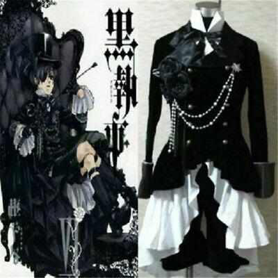 Anime Black Butler Ciel Phantomhive Cosplay Kostüm Schwarz Anzug Halloween Outfi
