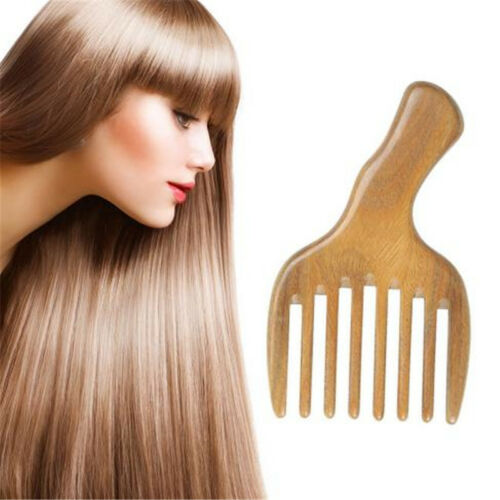 Wooden Comb Afro Pick Beard Comb Upright Wide Tooth Curly Ha
