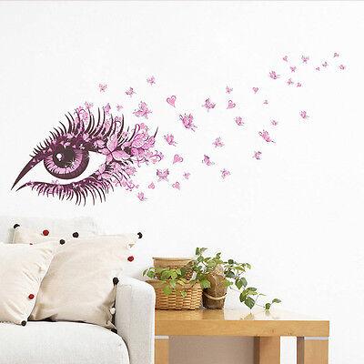 DIY Pink Eyes Butterfly Pattern Art Space Sticker Bedroom Home Decor Vinyl Mural
