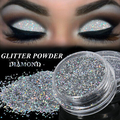 3g Sparkly Makeup Glitter Loose Powder EyeShadow Silver Eye Shadow Pigment 0.4MM