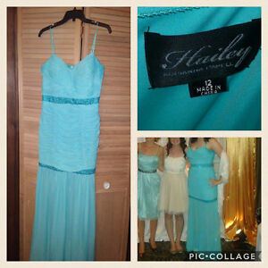 Beaded teal prom dress with chiffon bottom