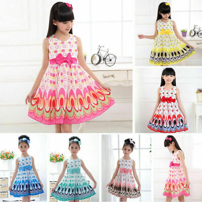 Kids Girls Bow Belt Sleeveless Bubble Peacock Dress Party Clothing Outfits Dress](Outfits Party)