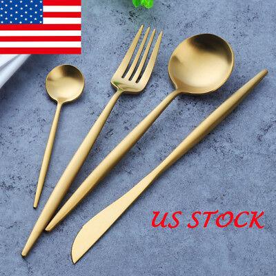 Gold Plated Tableware Set Stainless Steel Knife Fork Spoon Dinnerware