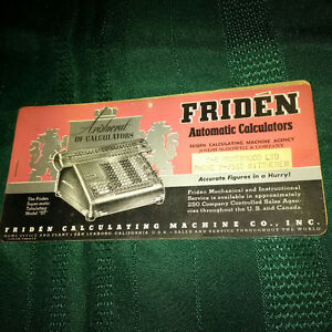 Vintage Friden Early Calculator Ink Blotter London Ontario image 1