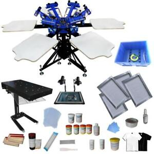 Silk Screen 6 Color 6 Station Screen Printing Kit with Flash Dryer & Simple Exposure Unit 006910