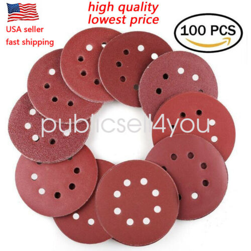 100PC 5 inch 8 Hole Hook and Loop Round Sandpaper Discs Sand