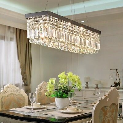 Modern Crystal Pendant Lamp - 80cm Rectangle K9 Crystal Chandelier Modern Home Bar Pendant Lamp Lighting Decor