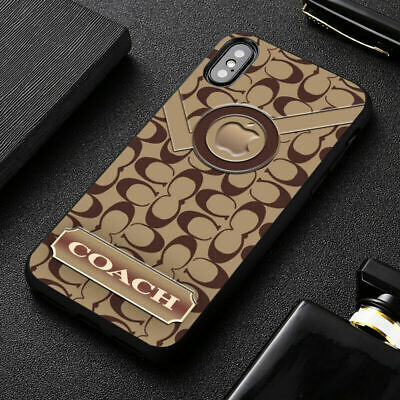 Best New Coach. Brown Apple Print On Hard Case Cover For iPhone 7 8