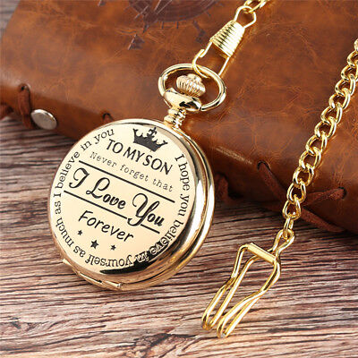 Gold Quartz Pocket Watch With Necklace TO MY SON I LOVE YOU Best Gift To