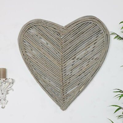 Wicker Heart Floral Shabby Chic Country Farmhouse Ivory Off White