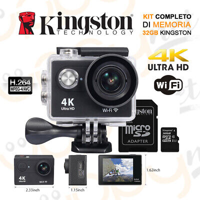 Action Cam Pro 4k WiFi Ultra HD Videocamera Subacquea Sport + 32 Gb Kingston